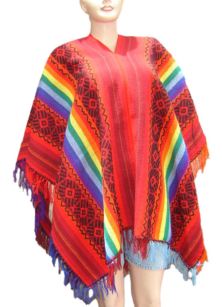 Multicolor Andean Wool Poncho are unisex